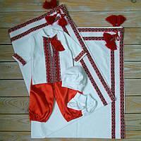 Набор для мальчика на крестины (трикотажный набор с шароварами+крыжма), фото 1