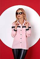 Розовая рубашка декорированная кружевом