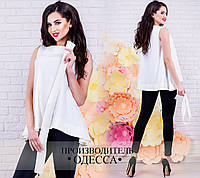Стильная молочная  блузка без рукава, с поясом. Арт-2230/70