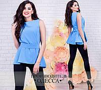 Стильная голубая  блузка без рукава, с поясом. Арт-2230/70