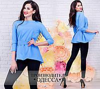 Модная голубая женская блузка, рукав 3/4, пояс в комплекте. Арт-2231/70