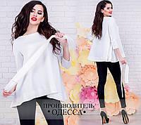 Модная молочная  женская блузка, рукав 3/4, пояс в комплекте. Арт-2231/70
