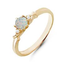 Золотое кольцо с опалом и бриллиантами 0,03 карат