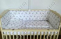 Защита бортик в детскую кроватку для новорожденных (птички)
