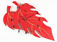 Часы настенные Фигурные Дерево красные