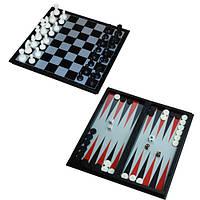 Мини Набор 3в1 шашки нарды шахматы 15 см