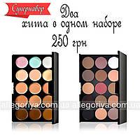 Корректоры консилеры Mac Cosmetics 15 оттенков + Тени для макияжа 15 штук цветов Mac Cosmetics матовые