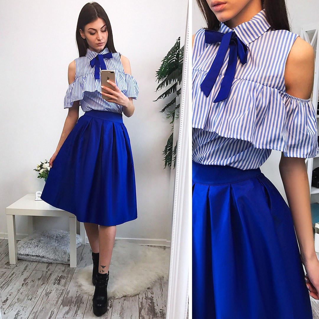 53b420ff0f6 Костюм рубашка в полоску хлопок и расклешенная юбка миди разные цвета Ks369