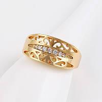 Женское кольцо с цирконами Gold filled 18k