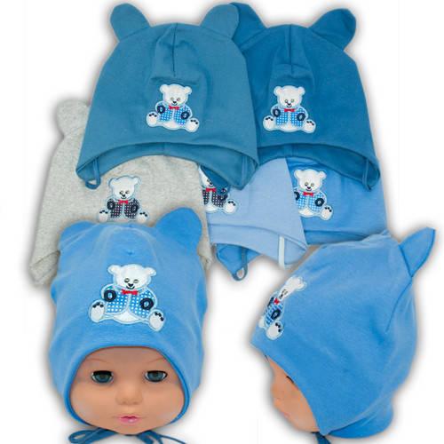 Детские шапки из трикотажа с завязками, 17006