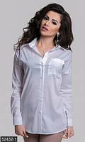Эффектная женская рубашка прямого фасона на пуговицах со стразами на спинке рукав длинный коттон