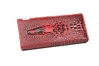 Кошелек женский с тиснением крокодила красный с черным