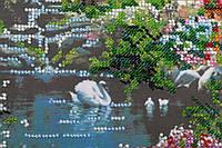 Набор для вышивания бисером на художественном холсте Домик на озере