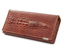 Женский Кошелек с тиснением крокодила! коричневый