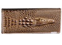 Кошелек женский с тиснением крокодила золотой