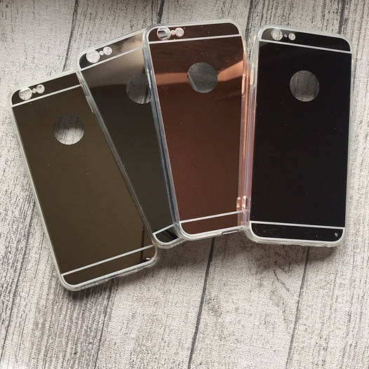 Силиконовый зеркальный чехол с вырезом под яблочко для iPhone 6/6s