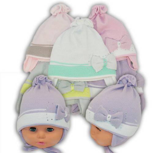 Вязаная шапка на завязках, для девочки, Ku270