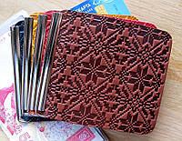 Шкіряний затиск для грошей з кишеньок для карток, візерунок Вишиванка