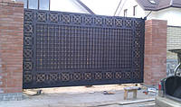 Фасадные въездные ворота - варианты заполнения