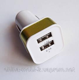 Універсальний зарядний пристрій автомобільний прикурювач 12-24V під usb, Адаптер 5V*1A*2шт usb