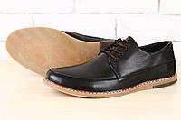 Стильные кожаные черные мужские туфли в стиле Tommy Hilfiger