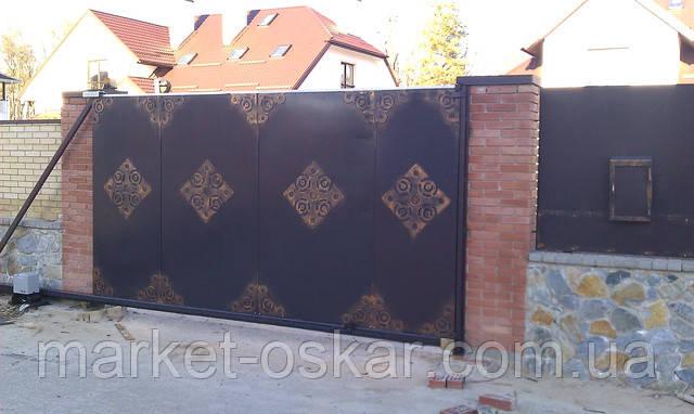 Фасадные въездные ворота с автоматикой в Киеве, Луцке, Одессе