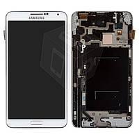 Дисплейный модуль (дисплей + сенсор) для Samsung Galaxy Note 3 N900/N9000, с рамкой, белый, оригинал