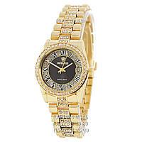 Наручные часы Rolex 1083-1 Datejust Quartz Women Diamonds Gold-Black (реплика)