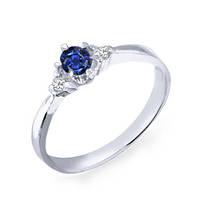Золотое кольцо с сапфиром и бриллиантами 0,06 карат