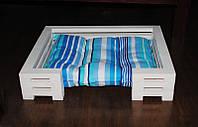 Лежак для кошки и собаки Lukoshko White с матрасиком Sonno Blue