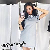 Платье с белой отделкой воротник и манжеты