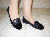 Т681 - Балетки женские черные с лаковым носком