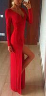 Платье в пол пикантный разрез с длинным рукавом, фото 1