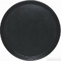412400 Поднос круглый черный нескользящий 400 мм