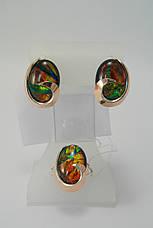 Набор серебряных украшений - кольцо и серьги с опалом тигровым, фото 2