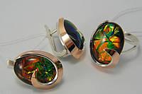 Набор серебряных украшений - кольцо и серьги с опалом тигровым