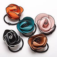 Резинка для волос набор Роза нат. кожа 5 цветов