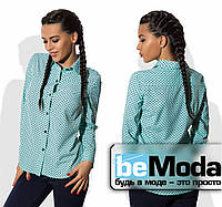 Стильная женская блуза рубашечного кроя с принтом в мелкий горох бирюзовая