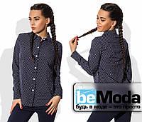Стильная женская блуза рубашечного кроя с принтом в мелкий горох черная
