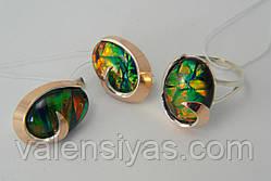 Набор серебряных украшений - кольцо и серьги с опалом тигровым, фото 3
