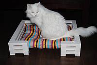 Лежак для кошки и собаки Lukoshko White с матрасиком Sonno Orange