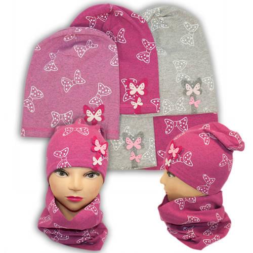 Трикотажные шапки детские с хомутом и принтом, AB13-3