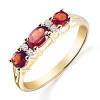 Золотое кольцо с гранатами и бриллиантами 0,04 карат