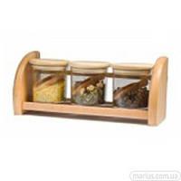 1477/6 Комплект банок для сыпучих продуктов на деревяной полке  3*250 м