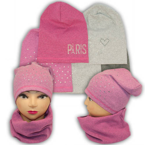 Трикотажные шапки детские с хомутом и камушками, AB12-3