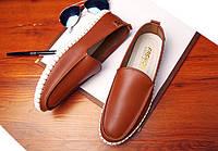 Мокасины туфли мужские   материал р-р 40-44 коричневые