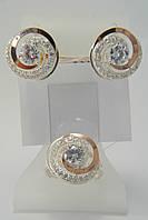 Оригинальные серьги и кольцо из серебра 925* с золотом и белыми цирконами