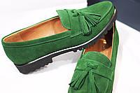 Женские туфли-лоферы от TroisRois из натурального турецкого замша и кожи с кисточками