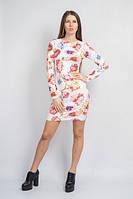 Платье Цветы мини молоко-сирень, фото 1