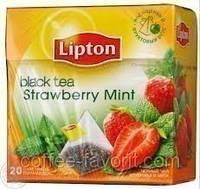 Чай фруктовый Lipton Strawberry mint с кусочками земляники и мяты в пирамидках 20х1,6гр.